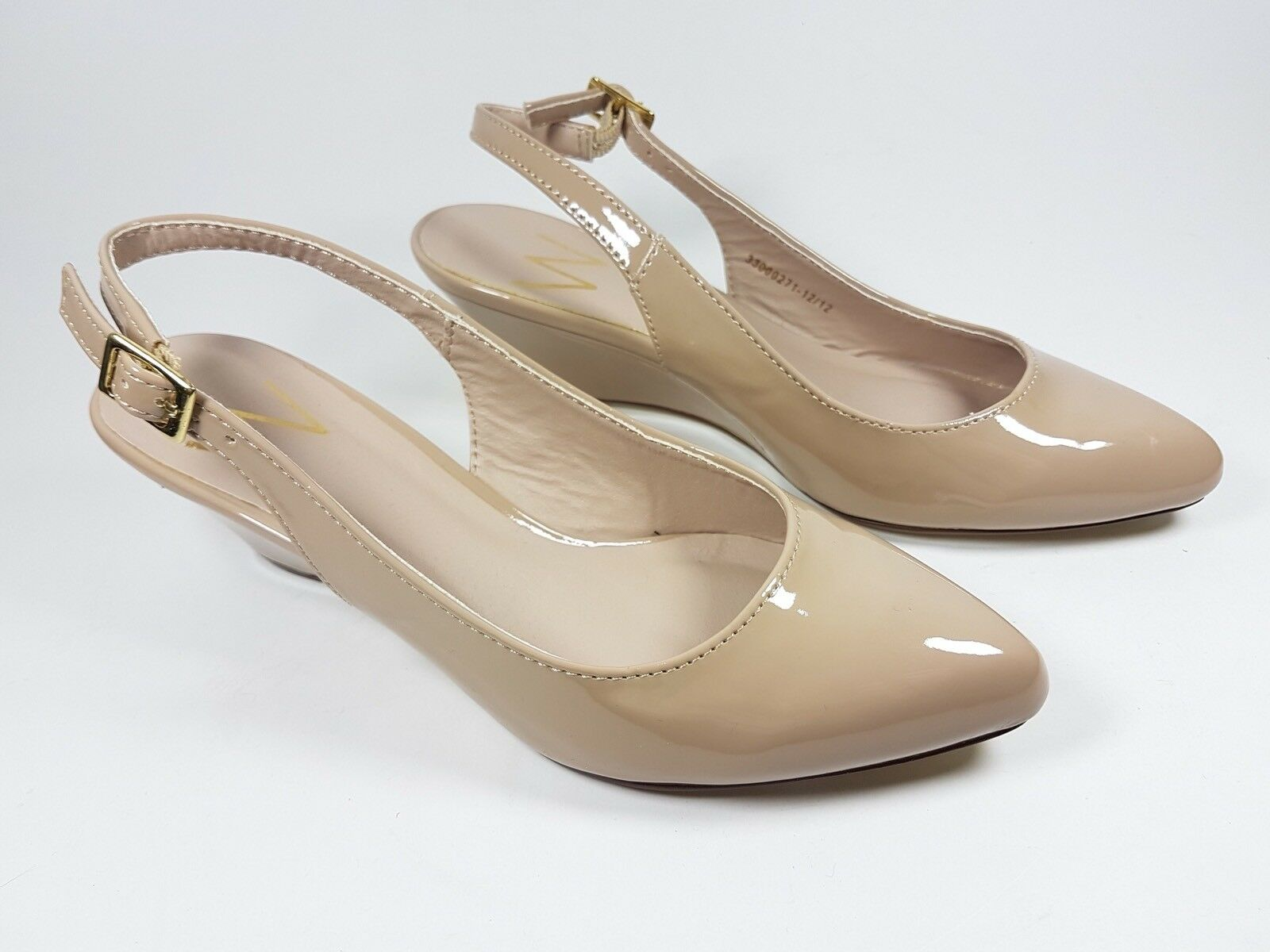 W cream faux slingback patent leather low wedge slingback faux shoes eu 37 New d4ed18