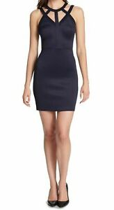 Guess-Women-039-s-Navy-Caged-Scuba-Bodycon-Dress-Size-6