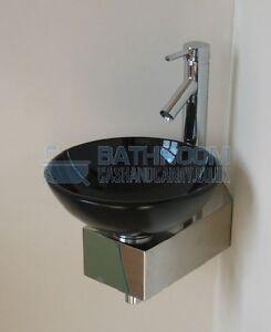 Bathroom Sink Glass Basin Small Compact Black Round 310 eBay