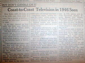 1945 newspaper START of 1st US Transcontinental TELEVISION viewing is PREDICTED