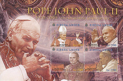 Sierra Leone 2010 MNH Pope John Paul II 5th Memorial Anniv 4v M/S I