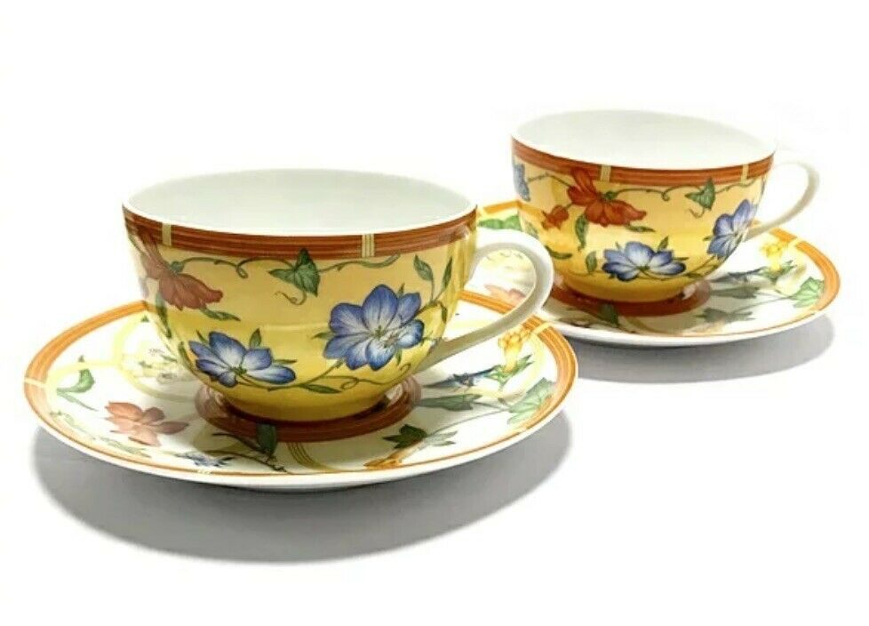 Hermes Porcelain Siesta Cup Saucer 2 set Tableware Gelb Ornament Auth Unused