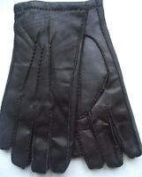 Men's Rabbit Fur Lined Genuine Leather Gloves, L, Brown