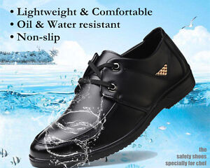 Details About Mens Chef Kitchen Cook Shoes Restaurant Leather Oil Resistant Non Slip