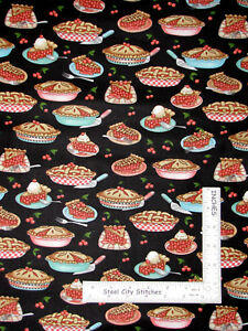 Kitchen-Cherry-Pie-Bake-Food-Black-Cotton-Fabric-QT-Home-Sweet-Home-By-The-Yard