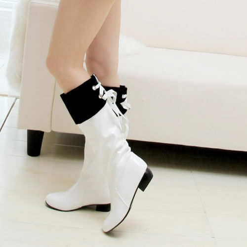 New Women Fashion Patent leather Low Heel Knee High Riding Boots Shoes Plus Size
