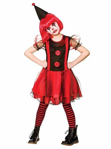 Girls FREAKY CLOWN Halloween Scary Horror Child Fancy Dress Costume Age 5-13