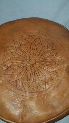 Marocain pouffes Handmade Cuir Véritable Lot de 2 Tan//tabac Repose-pieds factices