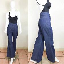 70's Vintage Dark Denim HIGH WAISTED Hippie Blue Bell Bottom Jeans S