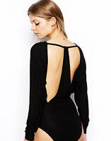 ASOS Black Stretch Body Top open racer back cut out batwing blouse shirt 6 8 36