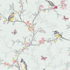 Soft Teal 98083 Phoebe Birds Tree Blossom Butterflies Statement Holden Wallpaper