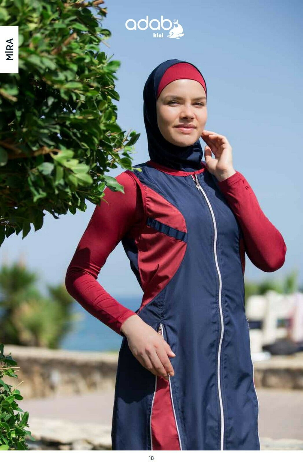 Adabkini Mira musulhommee 5 pièces Long Maillot de Bain Islamique Full Cover Modeste hijood