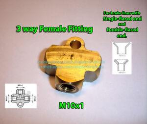 Brake-Line-Pipe-Brass-T-3-way-Female-Fitting-Connector-Splitter-M10x1-Metric
