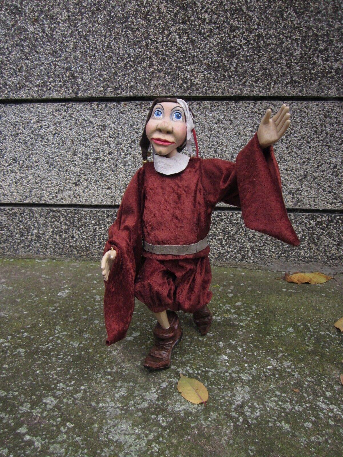 Marionette carved/marionette on string original wood hand-made- Jester-puppet