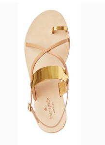 b04d80144  280 Kate Spade Gold Leather Gladiator Summer Sandals Flats size 9 ...