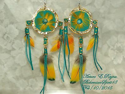 Arturo E.Reyna TRIBAL LEATHER GOLD/TURQUOISE EXOTIC FEATHERS REVERSIBLE EARRINGS