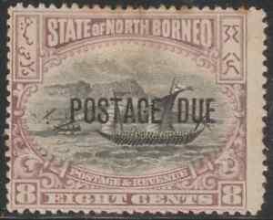 NORTH-BORNEO-1901-POSTAGE-DUE-8c-MALAY-DHOW-MH
