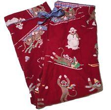 Nick and Nora-Flannel Sock Monkey Pajamas Lounge Pants-PJ Bottoms-Size Medium
