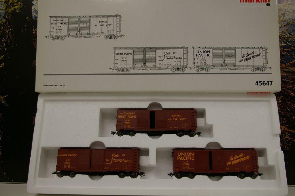 h0 45647 carri merci-Set  UNION PACIFIC  double-door BOX SET CAR OVP c6