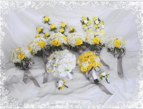 20 pcs COMPLETE SILK FLOWER WEDDING BRIDAL BOUQUET SET