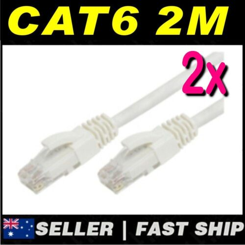 2 x 2m White Cat 6 Cat6 1000Mbps Premium RJ45 Ethernet Network LAN Patch Cable