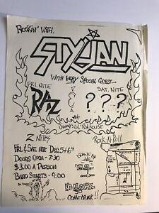 Dallas Texas 1980's Metal Band Flyer STYGIAN RAZ Hand Drawn Advertisement
