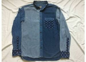 a83b06fcaa8 Used Momotaro Jeans Denim Shirt Blue Cotton Patchwork Sized-S indigo ...