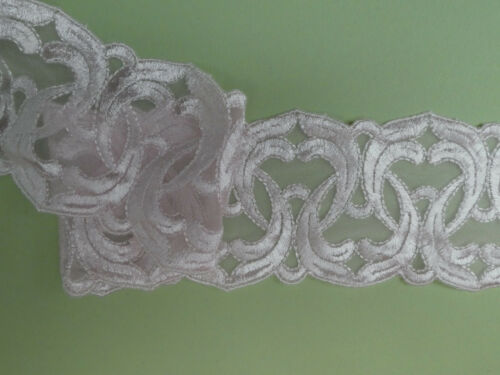 "5 METRES Pale Pink Satin Embroidered Tulle Lace Trim 3/""//8cm Sewing TOP SELLER"