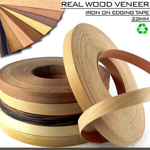 Details About Real Wood Veneer Iron On Edging Tape Strips 22mm Pre Glued Edge Band High Qualty