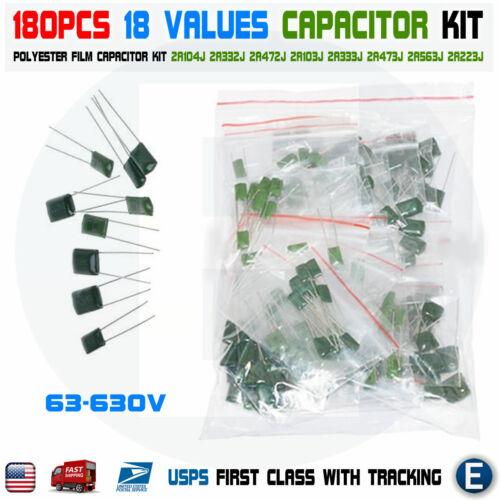 180PCS 18 Values Polyester Film Capacitor Assortment Electrolytic Kit 63-630V