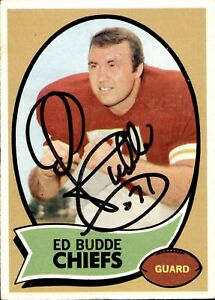 Ed Budde Signed 1970 Topps #77 Autographed Chiefs 53460