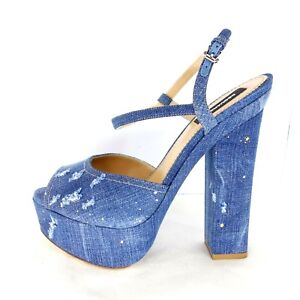 130736d143ef8 Image is loading Dsquared2-Dsquared-D2-Ladies-High-Heeled-Sandals-Pumps-
