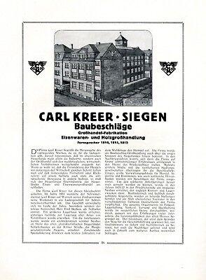 VertrauenswüRdig Baubeschläge Kreer In Siegen Xl Reklame 1922 Historie Werbung Eisenwaren Holz