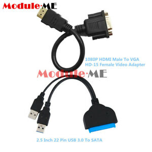 USB-3-0-To-SATA-Hard-Disk-22Pin-Driver-2-5-034-Adapter-HDMI-Male-To-VGA-Female-Cable