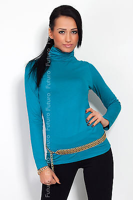 Classic Plain Stretch Women's Polo Turtle Neck Multicolor Long Sleeve FT545