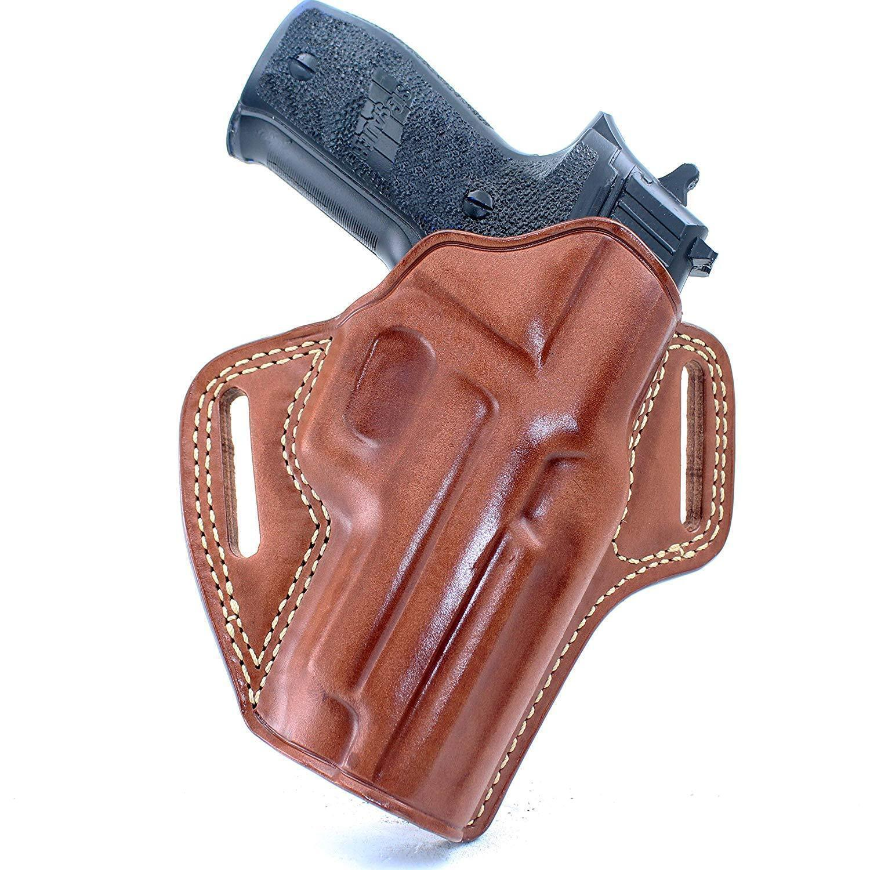 Funda de cuero panqueque se ajusta Sig P220 45 ACP con carril barril 4.4