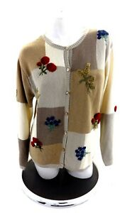 TALBOTS-WOMEN-039-S-AUTUMN-EMBELLISHED-CARDIGAN-SWEATER-SIZE-L
