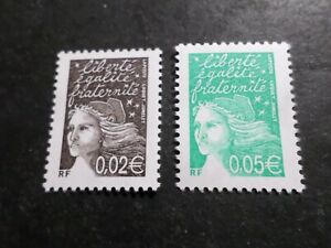 FRANCE-2002-LOT-2-timbres-3444-3445-MARIANNE-LUQUET-neufs-MNH-STAMPS