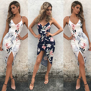 0ac804be871 Image is loading Women-Summer-Sleeveless-Floral-Evening-Party-Cocktail-Beach -