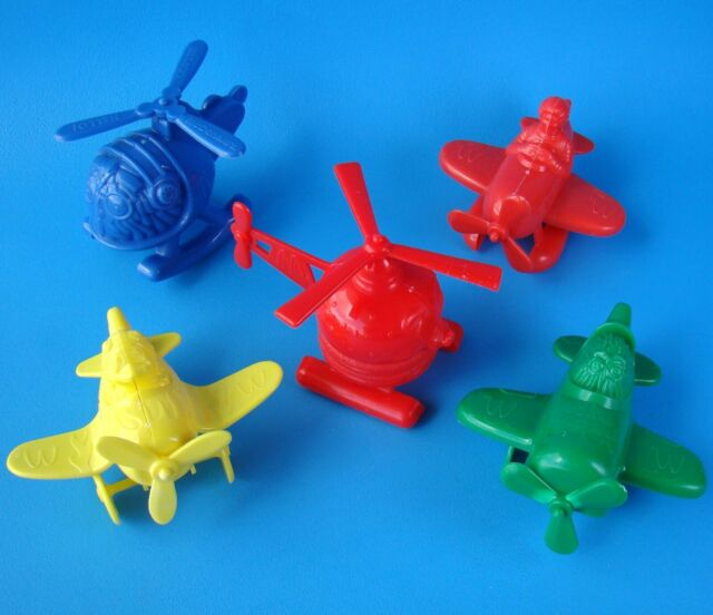 MCDONALD'S VINTAGE 1986 AIRPORT HAPPY MEAL TOYS X 5 PLANE HELICOPTER BIRDIE