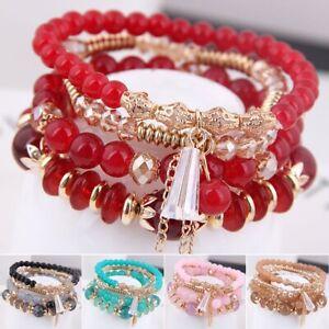 Multilayer-Damen-Armband-Perlen-Anhaenger-Kristall-Armschmuck-Armkette-Armreif