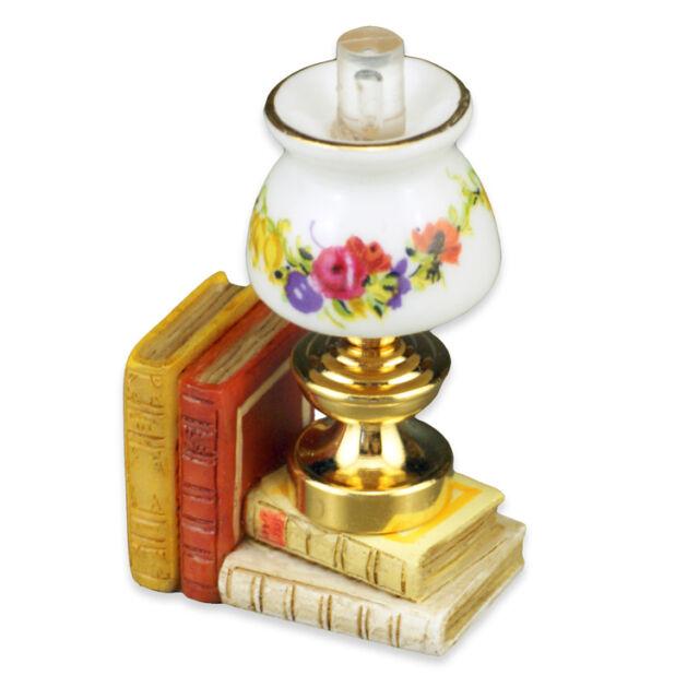Table Lamp w//Books 1.372//5 Reutter Porcelain dollhouse miniature 1//12 scale