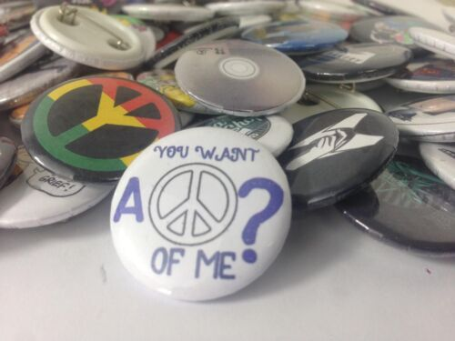 """Retro Peace Of Me  25mm// 1"""" Pin Badge Greenpeace Collectors Hippy"""