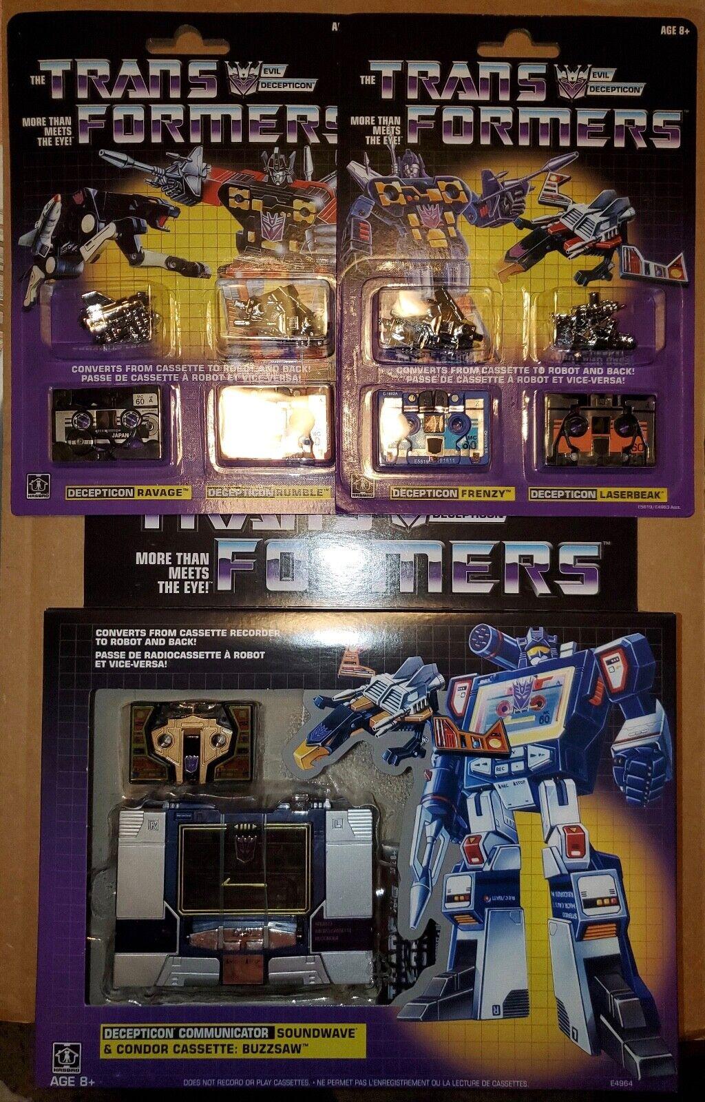 Nuevos Transformers G1 Soundwave con los 5 casetes completa Walmart reedición