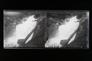 Cascade Francia Cauterets Foto Stereo L2n10 Vintage Placca Da Lente Negativo