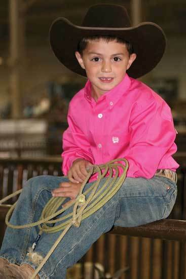 Kids Cinch Dark Pink Long Sleeve Twill
