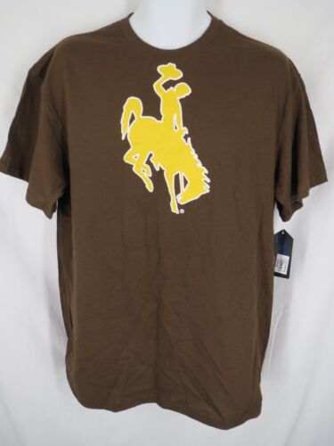 New Wyoming Cowboys Mens Size L Large Brown Short Sleeve Shirt MSRP $18