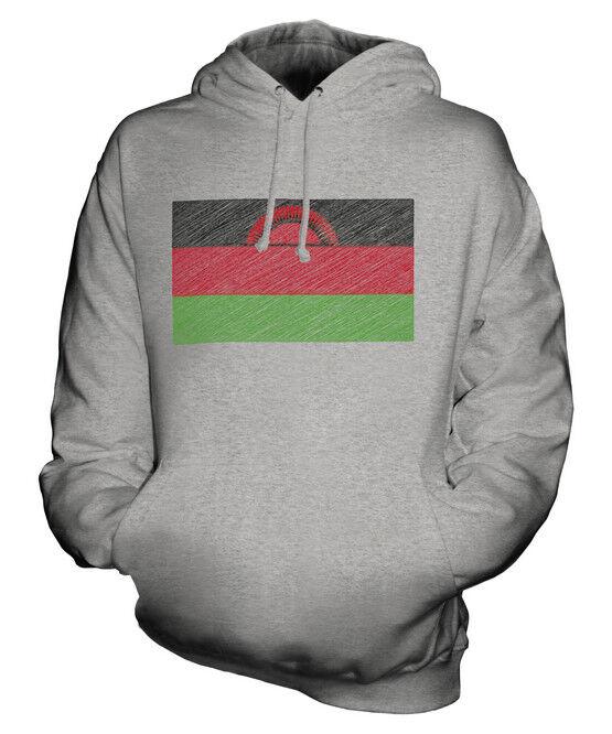 MALAWI SCRIBBLE FLAG UNISEX HOODIE TOP GIFT MALAWIAN FOOTBALL