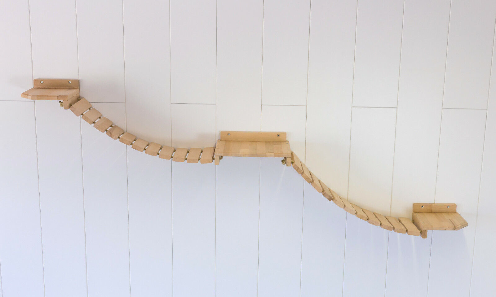 Gatti paretemuro si arrampi muro Park! doppio ponte sospeso 315 x 25 cm, Faggio 24g