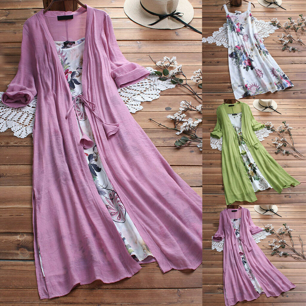 Women Plus Size 3/4 Sleeve O-Neck Floral Printed Lace Two-piece Maxi Long Dress